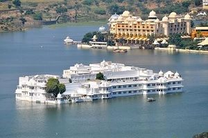 Lake Palace Udaipur ariel view